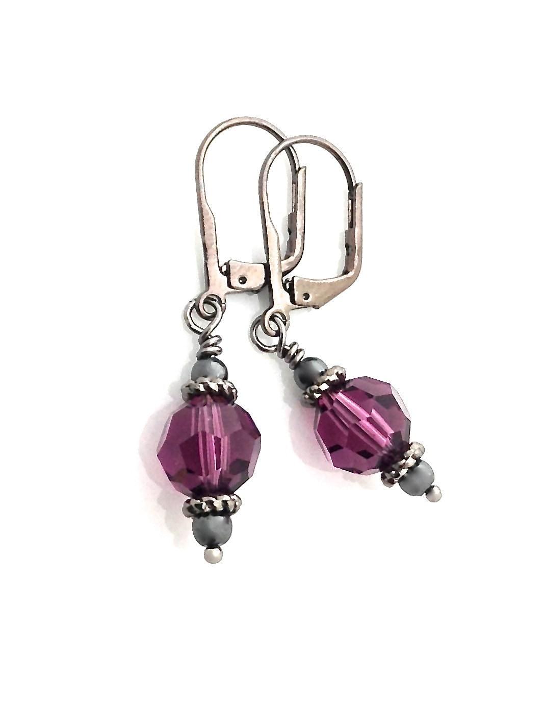 purple earrings purple black metal leverback by