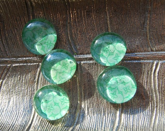 Green Bouquet Glass Magnets - Set of 5