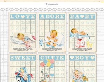 "Digital Vintage Style Baby Boy Bingo Cards/ blue retro baby ephemera cards / 5"" by 7"" and 3.5"" by 5"" / downloadable / printable"