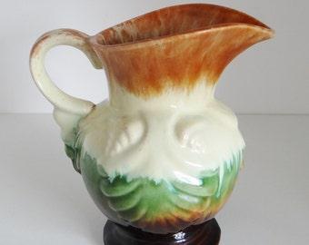 Vintage Vase West German Slipware Style Water Pitcher/Jug 1950's/60's