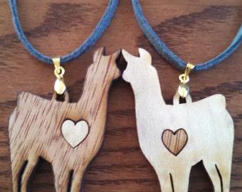 Reversible Laser Cut Llama/Alpaca Pendants - Wooden Heart