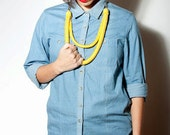 SALE 15% OFF! Statement necklace. Two yellow ropes in different lenghts, attached to a metal chain.