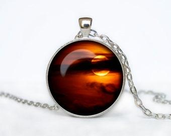 Full Moon Necklace Moon Pendant  Space  Galaxy Orange Moon  Jewelry