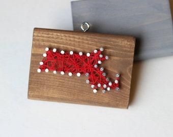 Massachusetts String and Nail Art Rustic Wood Ornament