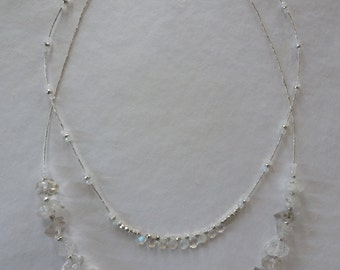 Herkimer diamonds moonstone beads and briolettes silver pyrite beads and Hill Tribe silver baby bamboo beads gorgeous Wedding Necklace