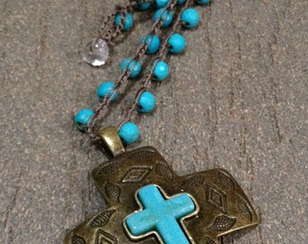 Earthy Turquoise Blue Howlite Gemstones Crochet Necklace with Howlite Cross Pendant