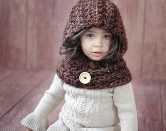 Toddler & Girls Hoodie Cowl Easy CROCHET PATTERN The GINGER  From the Danica Collection 2 sizes