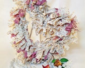Heart Rag Wreath White with Pink Shabby Home Decor - northandsouthshabby