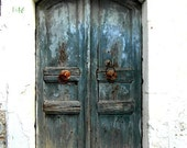 "Greek blue door. ""I love greece"" fine art print photography - CoinBleu"