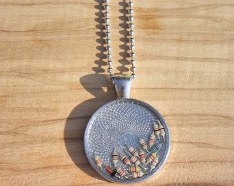 round camee necklace, resistance, resin, silver, printed circuit boards