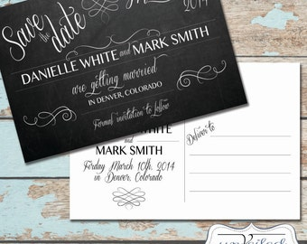 Printable Save The Date Post Card - Chalkboard