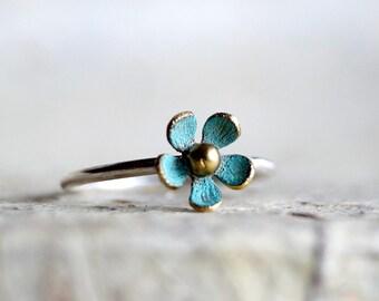 TINY DAISY BLUE ring , stacking ring , patina ring , spring ring , flower ring  ,Christmas gift ring