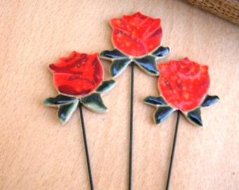 Ceramic Rose Flower planter stake-Garden decor-Planter art-Planter stake- Herb signs-Garden-Bookmark-Summer-Mums day-Red-Office-Home