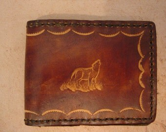 Tooled Brown Leather Wallet - Leather Billfold - Wolf