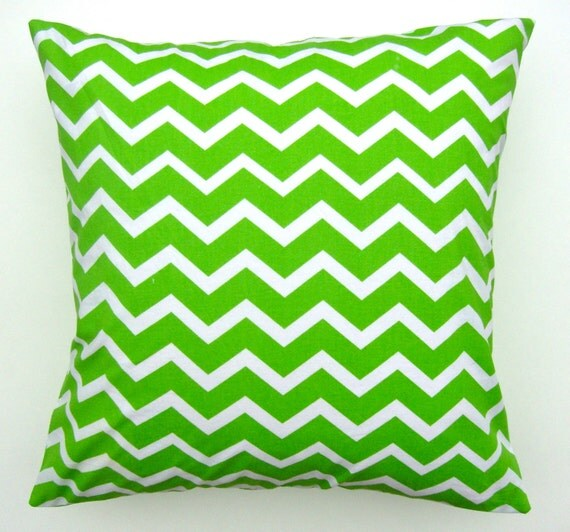 Green Chevron Pillow Cover Green Chevron Fabric Handmade