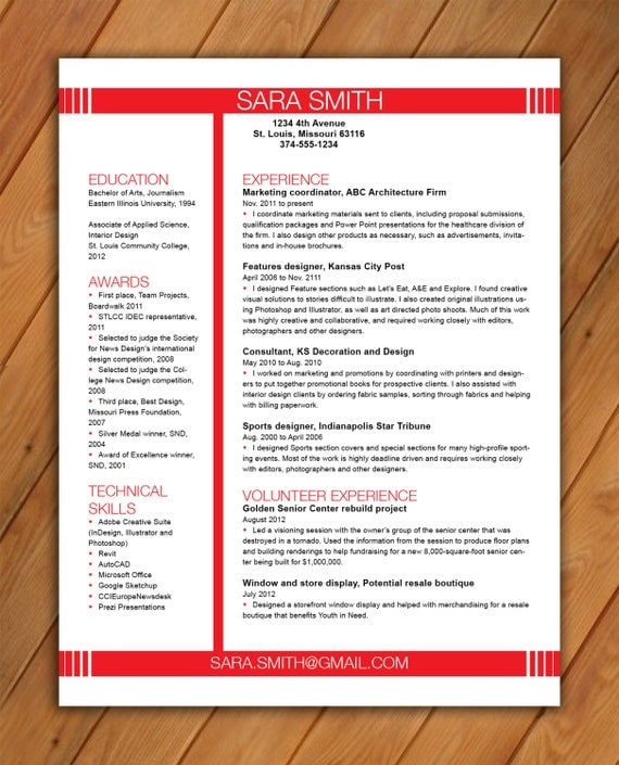 items similar to custom two page resume template reverse