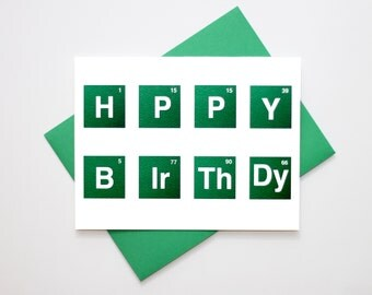 Geeky Birthday Card - Periodic Table - Science Card - Happy Birthday - Birthday Card - Science Birthday Card - Periodic Table Card