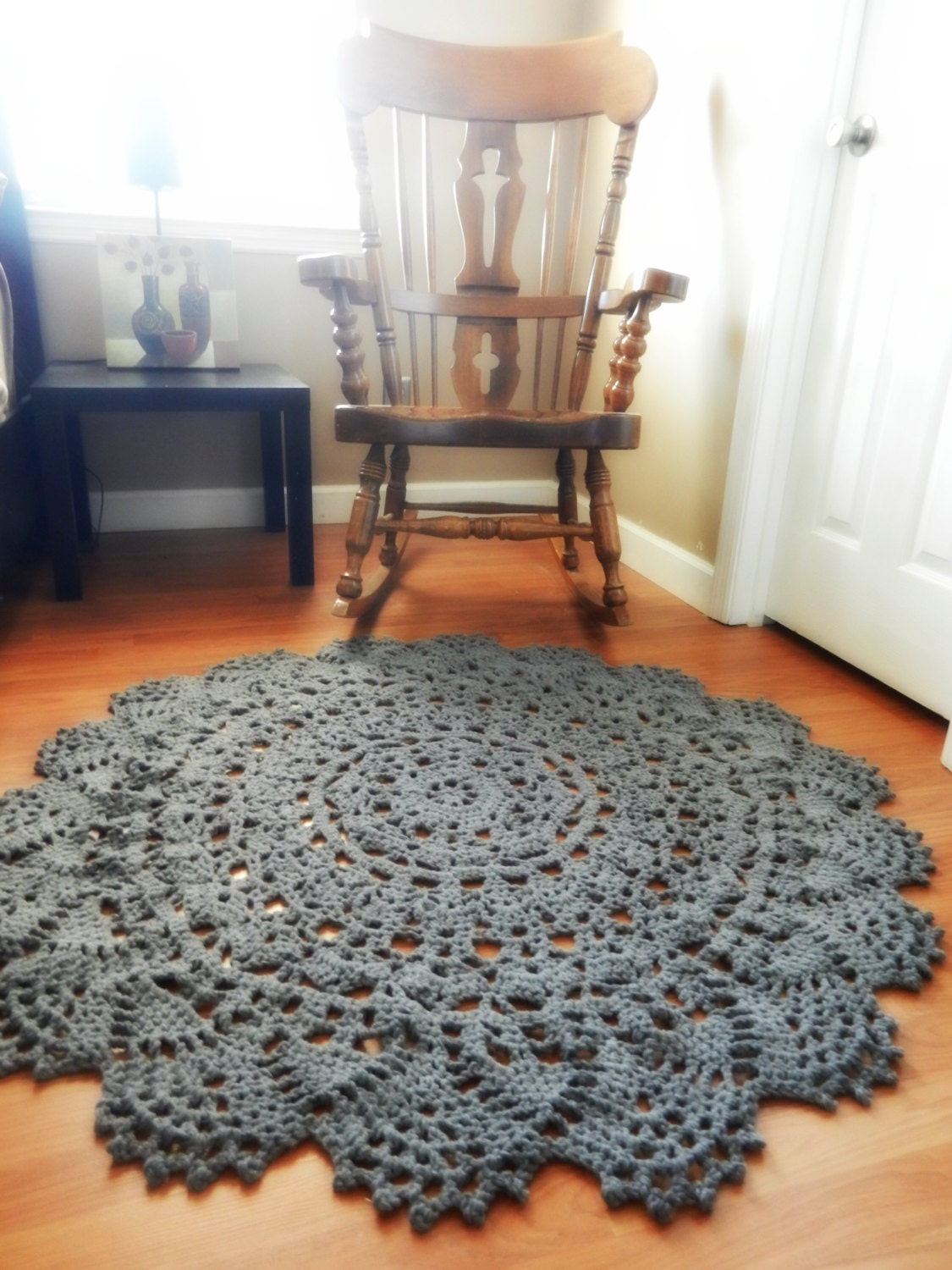 crochet doily rug charcoal grey pewter large round by evavillain. Black Bedroom Furniture Sets. Home Design Ideas
