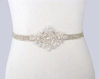 Bridal Sash, Rhinestone Wedding Belt, Crystal Dress Sash, Silver Jeweled Beaded Bridal Belt, 35 Satin Ribbon Options Ivory / White / Navy