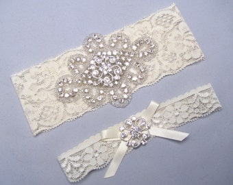 White / Ivory Lace Wedding Garter, Silver Garters, Custom Garter, Crystal Rhinestone Bridal Garter Set, Keepsake and Toss Garters