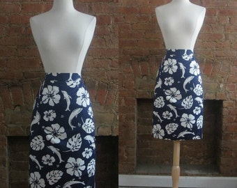 "vintage Escada tropical print pencil skirt | 80's High Fashion Resort | 26"" waist"
