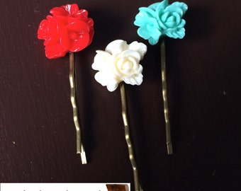 hair clips Bella Italia flowers