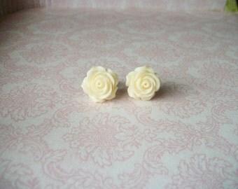 Handmade Cream Ivory White Rose Rosebud Flower Large Stud Post Earrings, Bridesmaids Earrings, Bridesmaids Gifts, Bridesmaids Jewelry