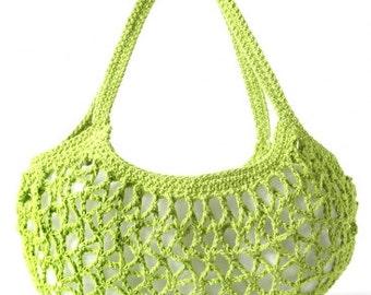 Cotton Market Bag, Green Crochet Market Tote, Handmade tote, grocery bag, hand crocheted market bag, green market bag, medium grocery tote