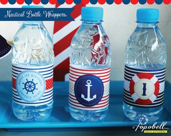 Nautical Bottle Wrappers for Nautical Birthday Party. Personalized Nautical Bottle Liners in 3 designs! DIGITAL.