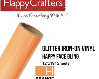 """Iron On Glitter Vinyl (Orange Zest) 12"""" x 19"""" Sheet"""