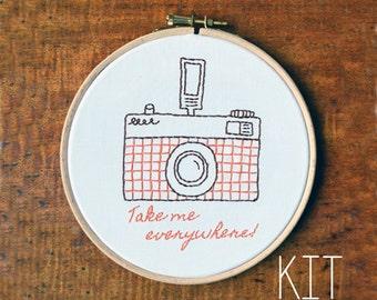 "Embroidery Kit ""Retro Camera: Take me everywhere"""