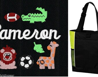 FREE SHIPPING - PERSONALIZED Jungle Sports Tote Bag diaper baby beach   New