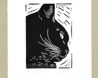 Black Cat Profile - Linocut. Original hand pulled Relief Print