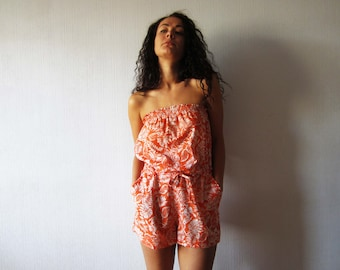 Orange Floral Playsuit Summer Romper Shorts Onsie Floral Mini Jumpsuit Womens Playsuit Hippie Hipster Boho Medium Size