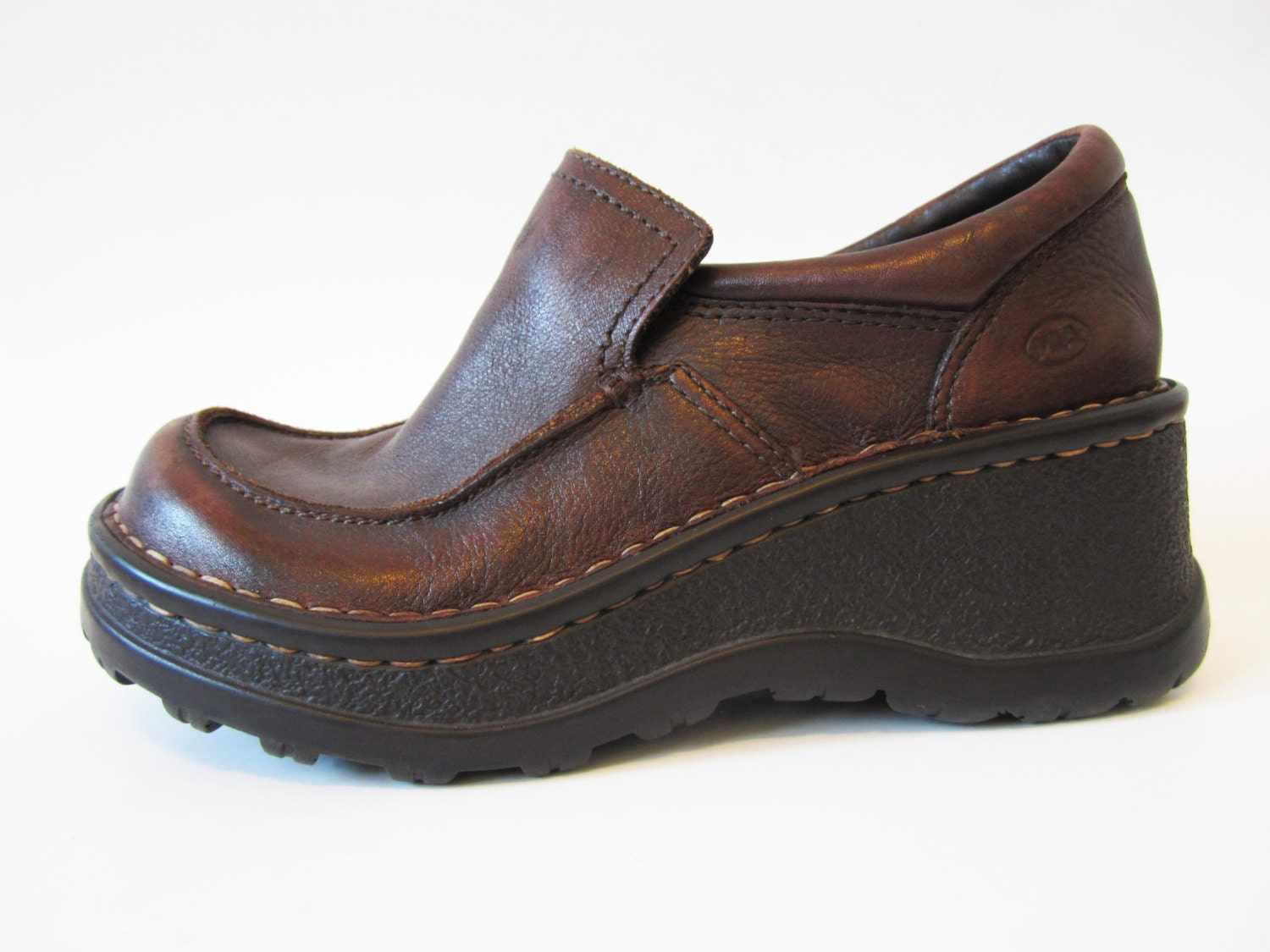platform shoes brown genuine leather chunky curved