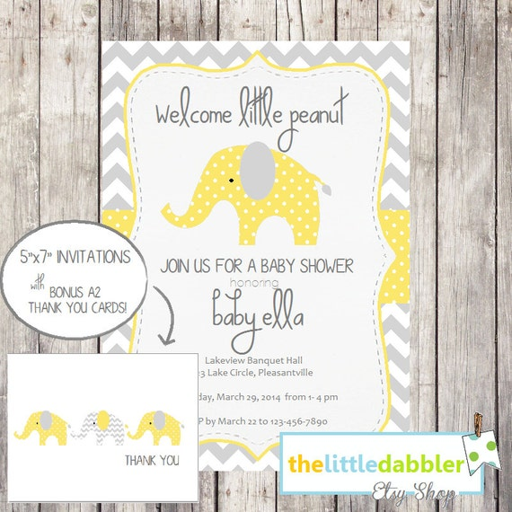Custom Invitation and Thank You Card Digital Download Set - Yellow and Grey Elephant   ||    thelittledabbler.com