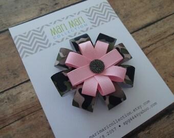 Camo with Pink Hair Bow, Camo Hair Bow, Camo Hair Clip, Camo Hair Accessory, Pink Camo Hair Bow, Pink Camo Hair Clip, Camouflage Bow Pink