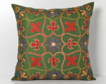 Silk Suzani Pillow Cover - Green Red Hand Embroidered Vintage Pillow - Decorative Pillows For Couch - Throw Pillow - Accent Pillow