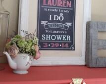 Wedding Bridal Shower Welcome Sign, modern chalkboard style Sign