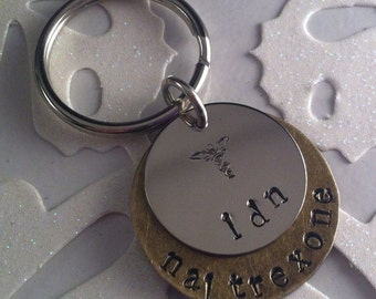 LDN, Low Dose Naltrexone, Awareness Keyring, Hand Stamped Medical Alert Symbol, LDN awareness
