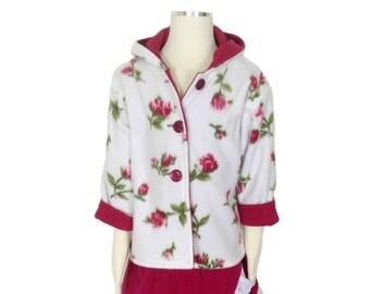 Raspberry pink and white little girls fleece jacket, hoodie, jumper, winter coat