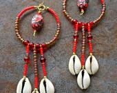 Mosaic Magnesite Turquoise Cowrie Shell Chandelier Earrings - Shell Jewelry, Boho Sea Shell Jewelry