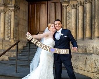 Thank You Sign / Rustic Wedding Banner Photo Prop - Wedding Sign - Wedding Decoration