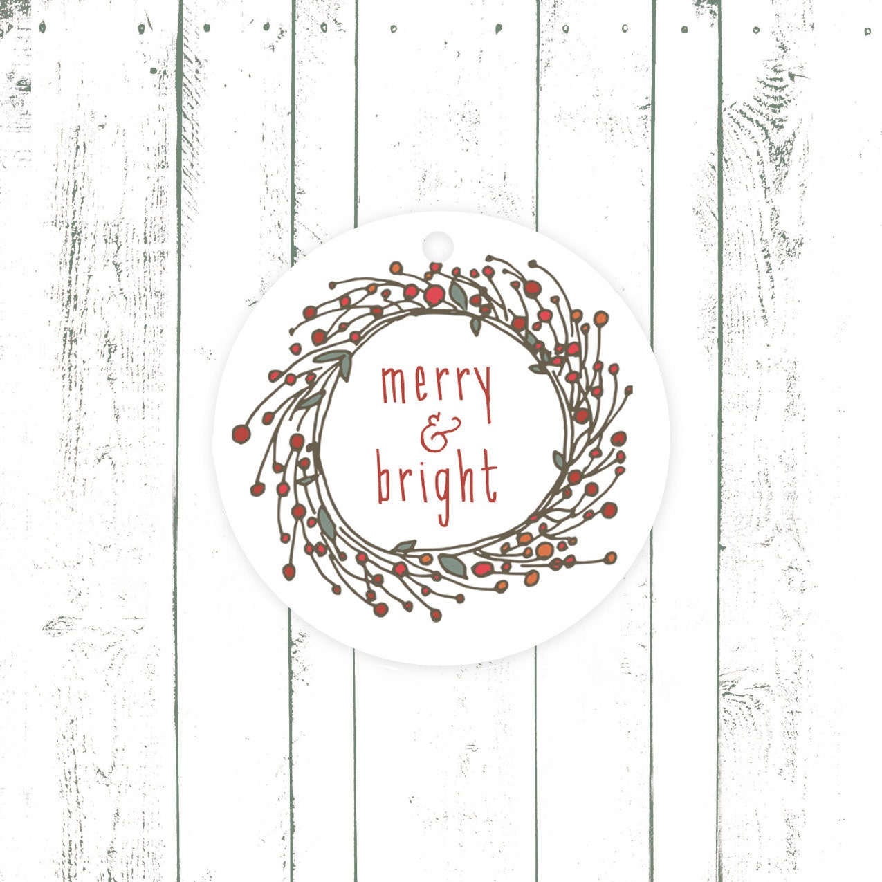 Holiday Gift Tags, Christmas Tags, Merry and Bright, Wreath with Holly Berries