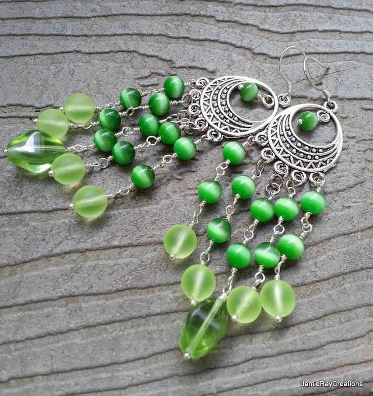Lime Green Chandelier Earrings Green Glass Bead Earrings