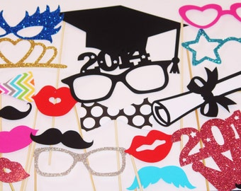 20 Graduation PhotoBooth Props, Mustache Party, Lips, Wedding Photo Booth, Highschool Graduation, College Graduation, Graduation Party