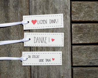 36x Thank you very much!/Danke! Twelve is in love. Gift tags. Gifttags. Stationery. Gift. Birthday. Trailer. Wedding