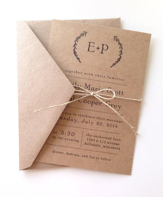 kraft paper invitations and envelopes