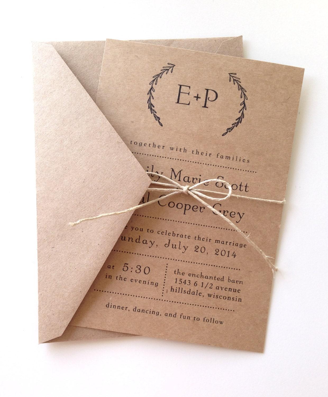 Rustic Wedding Invitations: Rustic Laurel Wedding Invitations