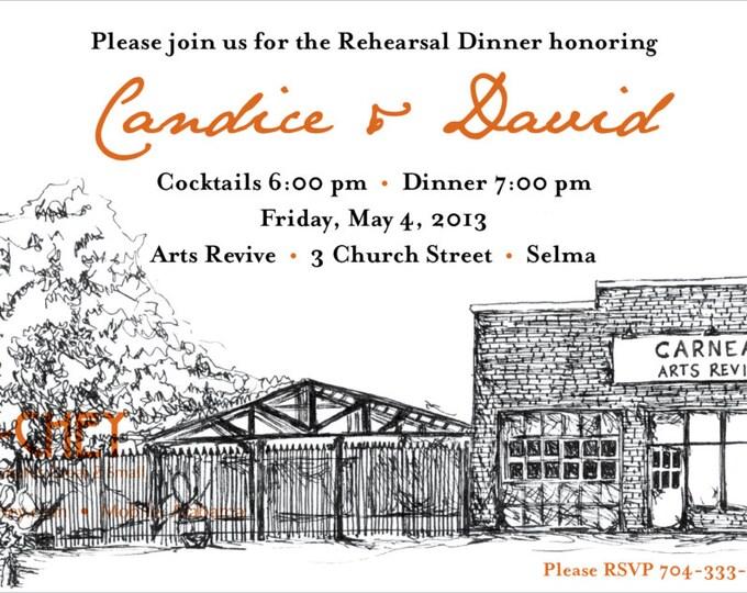 Arts Revive Selma, Alabama | Custom Sketched Rehearsal Dinner Invitation